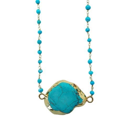 Collar con piedra turquesa y cadena de piedras turquenitas