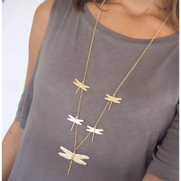 Collar largo de Libélulas chapado en oro 18 Kts