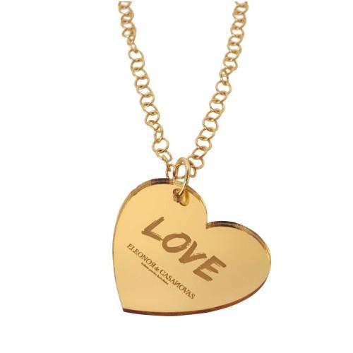 Colgante LOVE espejo oro