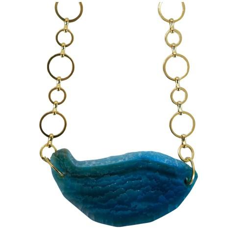Collar corto con piedra de ágata azul