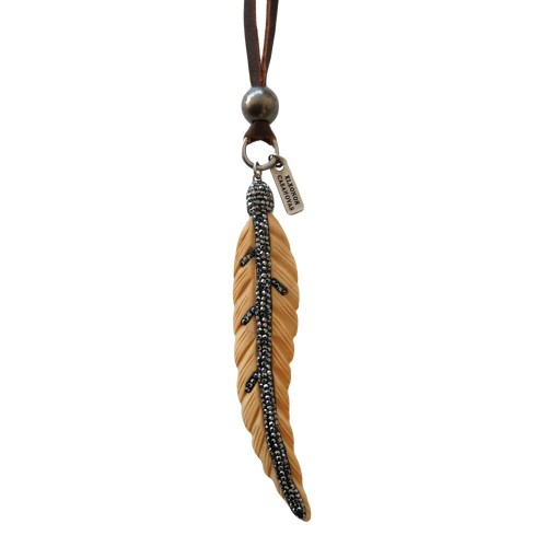 Boho black feather pendant with leather cord