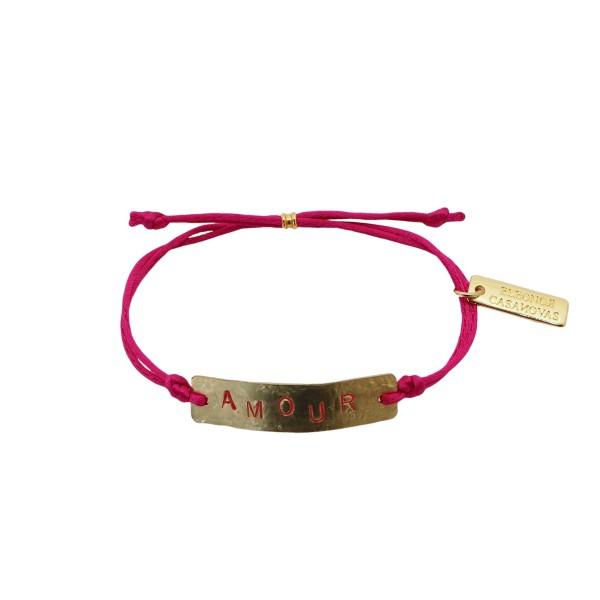 Pulsera personalizada con placa y cordón ajustable de color