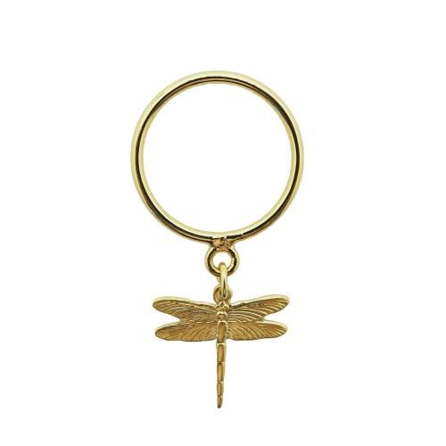 Anillo de plata chapado oro 18K con charm de libélula