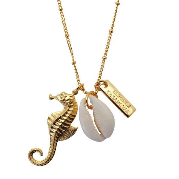 Golden Seahorse pendant with seashell