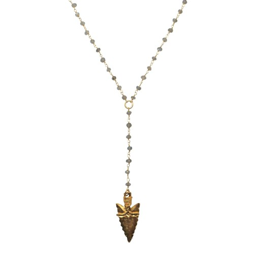 Collar cadena plata y labradora con daga chapada en oro