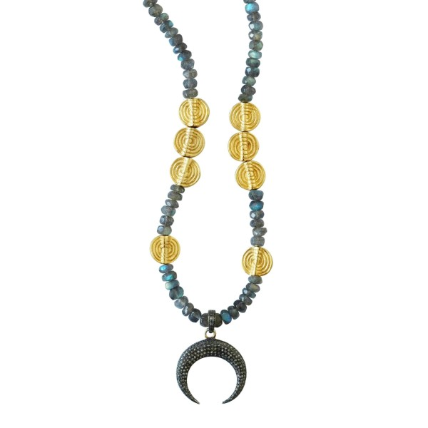 Silver and Diamonds Moon Necklace