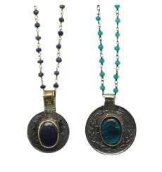 Colgante Amuleto Medalla Vintage cadena de plata y piedra natural