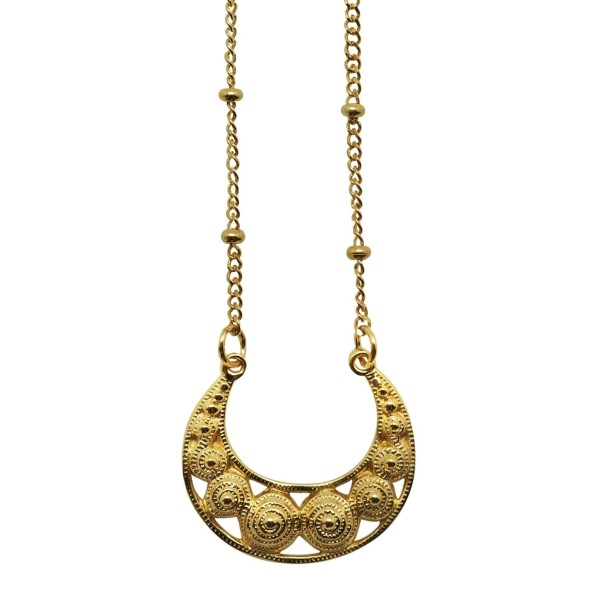 Big 18K Goldplated filigree Moon necklace