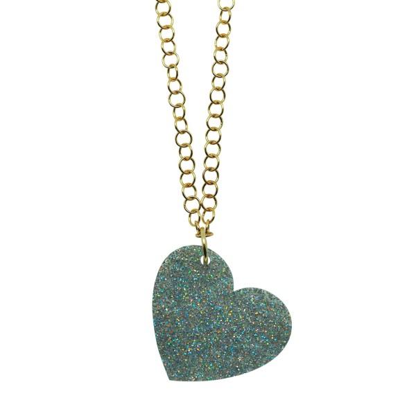 Colgante Glitter Love plata cadena dorada