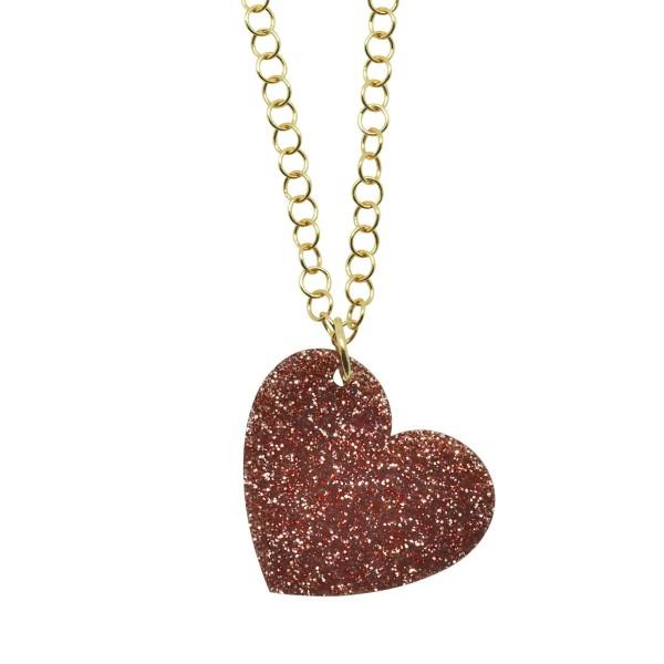 Colgante Glitter Love rosa palo cadena dorada