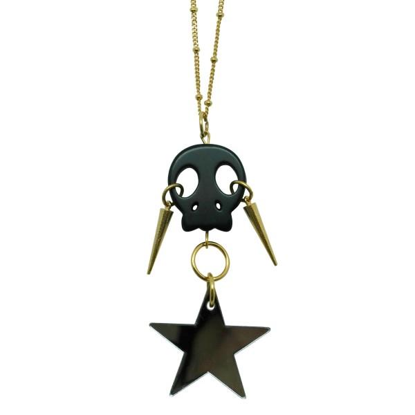 """Colgante """"Skull & Spikes"""" con estrella espejo plata"""
