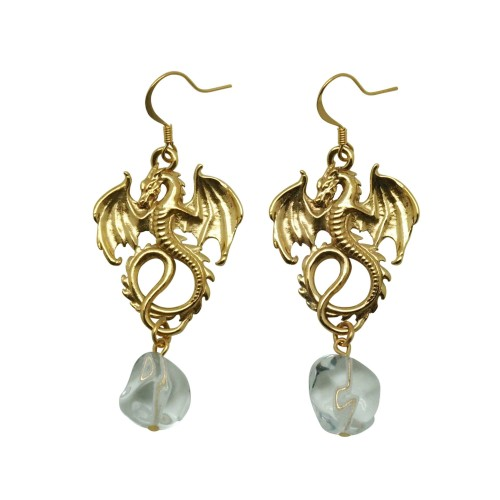 Dragon Earrings with Quartz stones