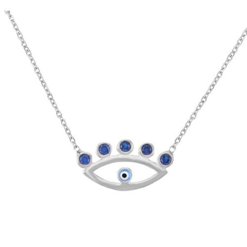 Evil Eye Amulet Silver Necklace