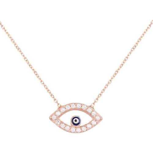 Collar Amuleto Ojo Protector oro rosa