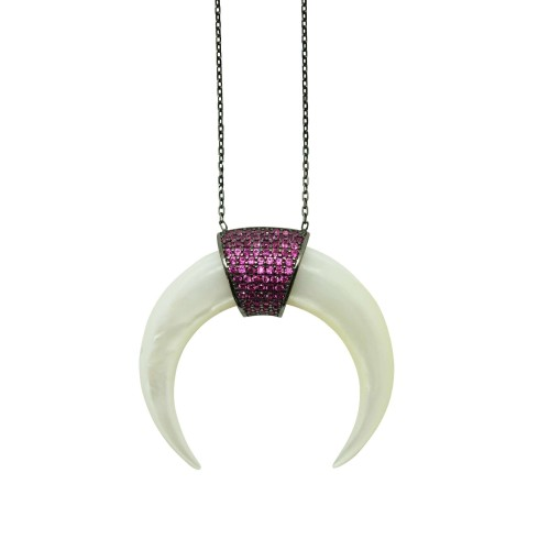 Silver and Fuchsia Zircon big Horn necklace