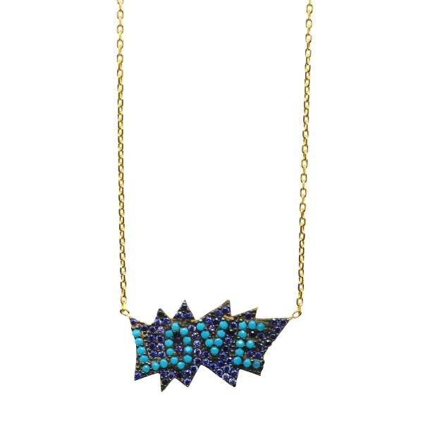 Collar LOVE circonitas azules