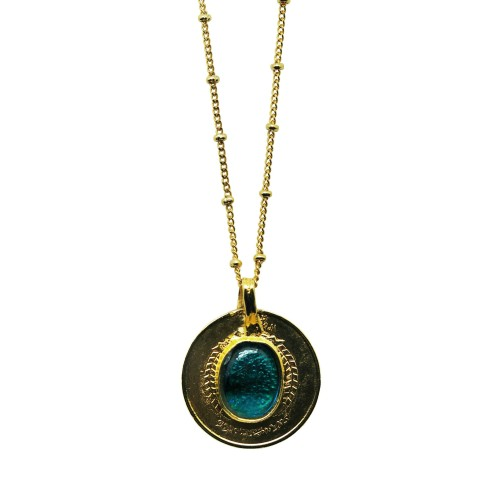 Vintage ball-chain Gold-plated coin necklace
