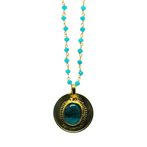 Vintage Gold-plated coin necklace with Silver and gemstones chain