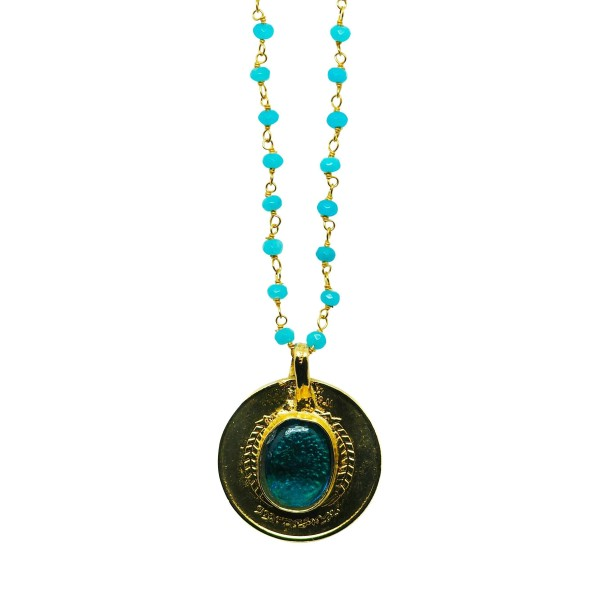 Collar Amuleto Medalla Vintage chapada oro 18K cadena piedras