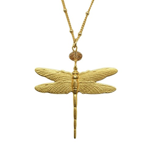 Drafonfly pendant with Light Brown swarovski