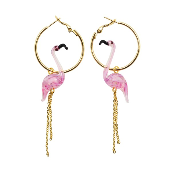 """Pink Flamingo"" Hoop earrings"