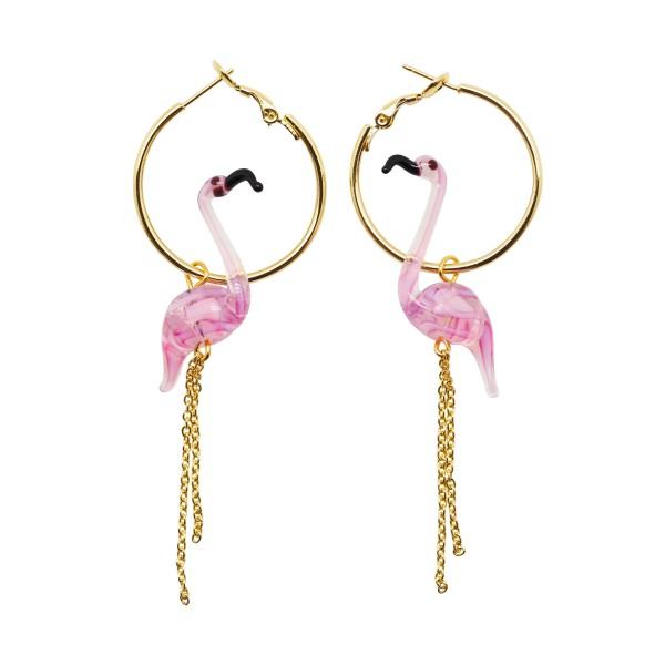 """Pendientes de aro """"Pink Flamingo"""""""