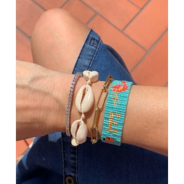 Silver and Zircon adjustable bracelet