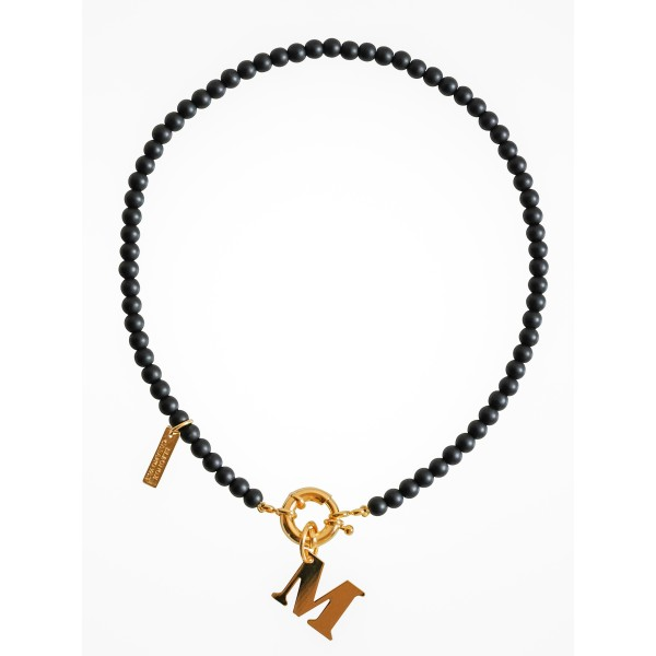 """""""Black Midnight"""" Necklace with Initial"""