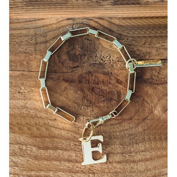 """Square Links"" Bracelet with or without Initial"