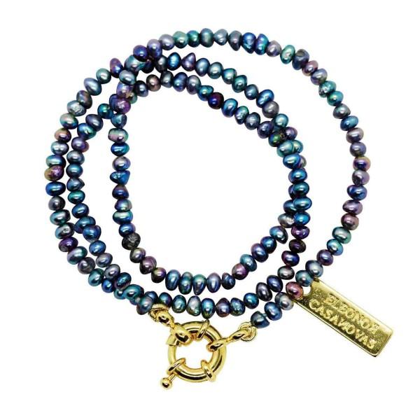 """Mini Black Peacock Pearls"" Necklace"