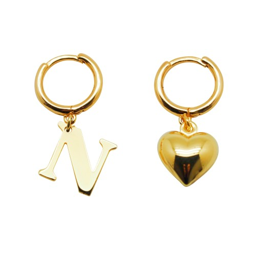 Single hoop earring with Initial