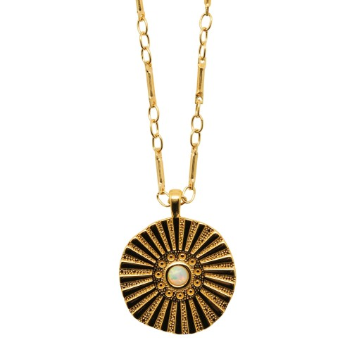 """Sun Opal"" coin Necklace"