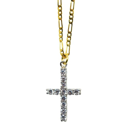 Silver and Zircon Cross Necklace