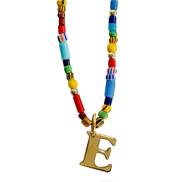 """""""Be Happy"""" Necklace with Initial"""