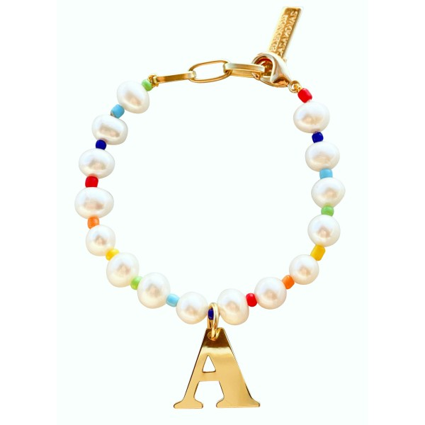 """Rainbow of Pearls"" Bracelet with Initial"