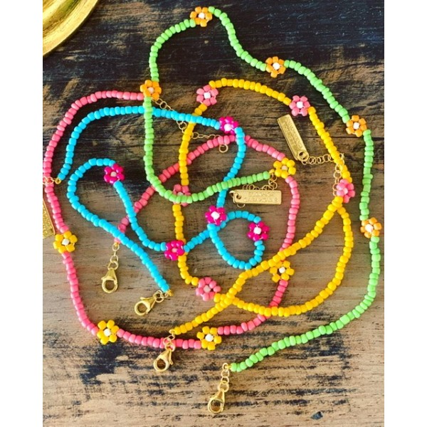"""Pink/ Yellow Aloha"" Necklace"