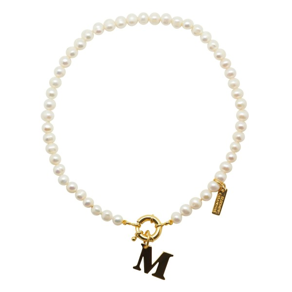"""My Classic Pearls"" Necklace with Initial"