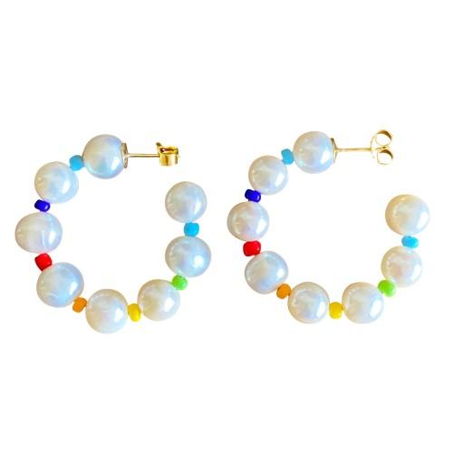 """""""Rainbow of Pearls"""" hoops"""