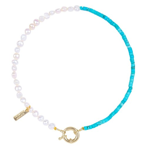 "Collar ""Turquoise & Pearls mix"" con o sin inicial"