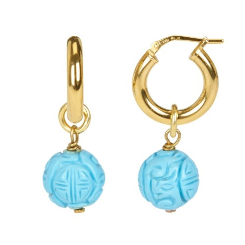 """Turquoise Lovers"" hoop earrings"