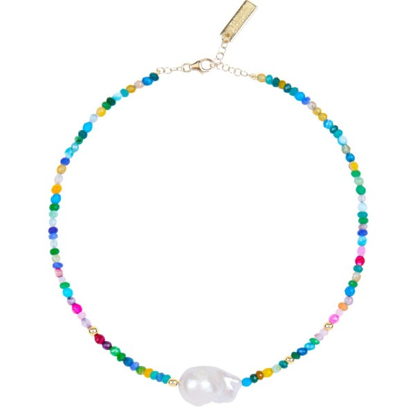 """Maxi Pearl"" Necklace - Blue"