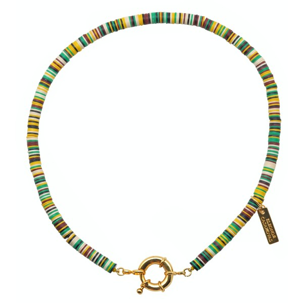 """""""Good Vibes"""" necklace with round clasp - Green"""