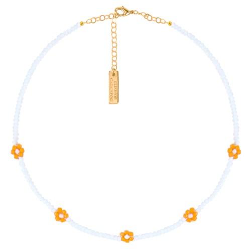 """Collar """"ALOHA"""" blanco naranja"""