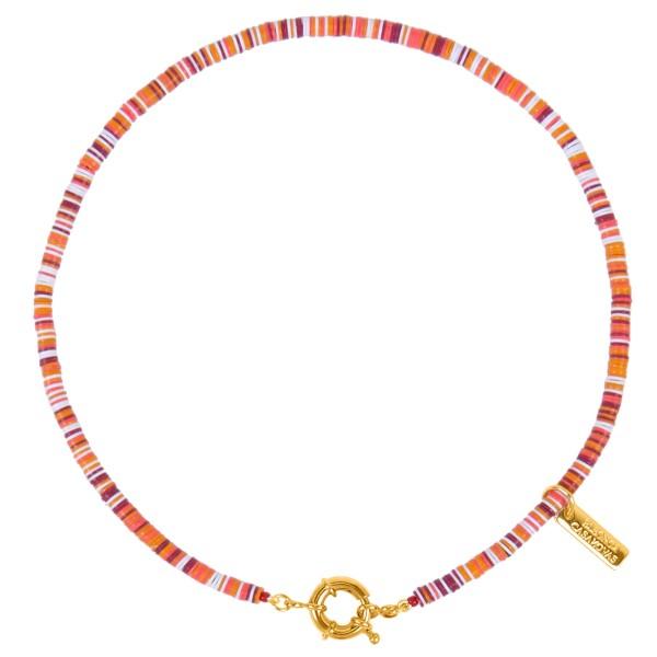 """Good Vibes"" medium necklace orange/beige"