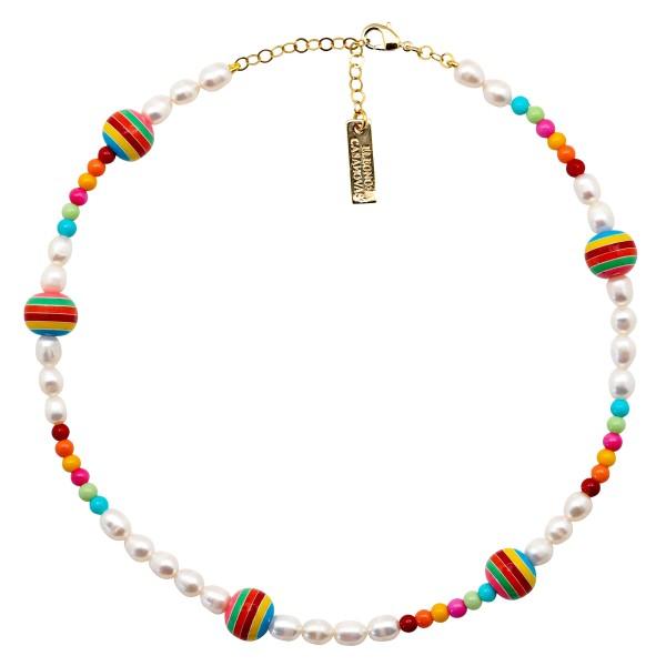 Pearls & Rainbow Balls Necklace
