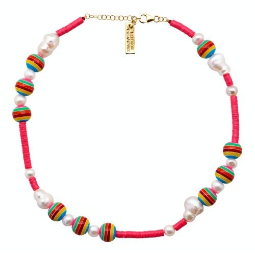 """Pink Bolas Rainbow"" Necklace"