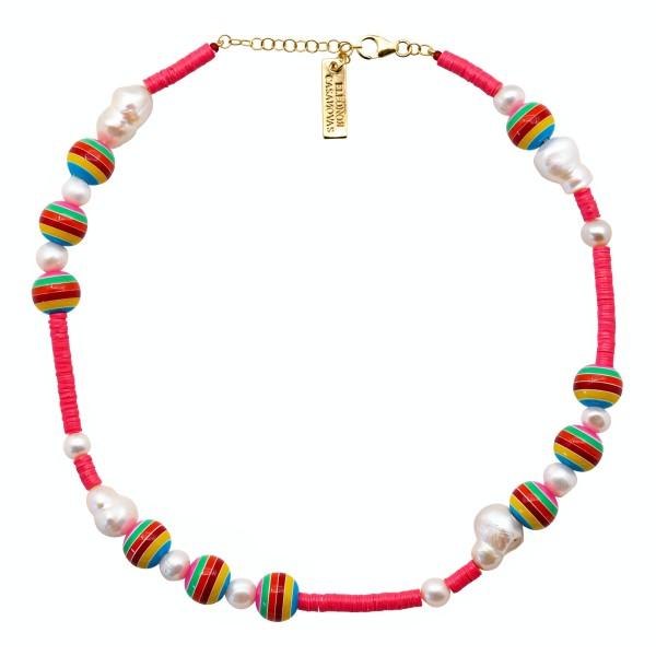 Collar Pink & Bolas Rainbow
