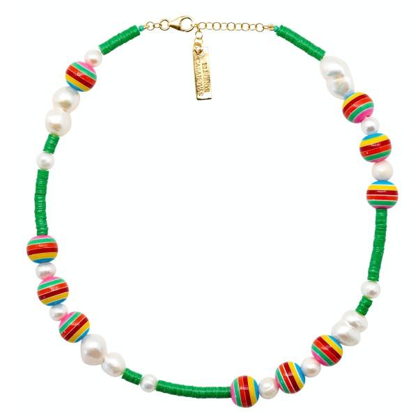 Collar Green & Bolas Rainbow