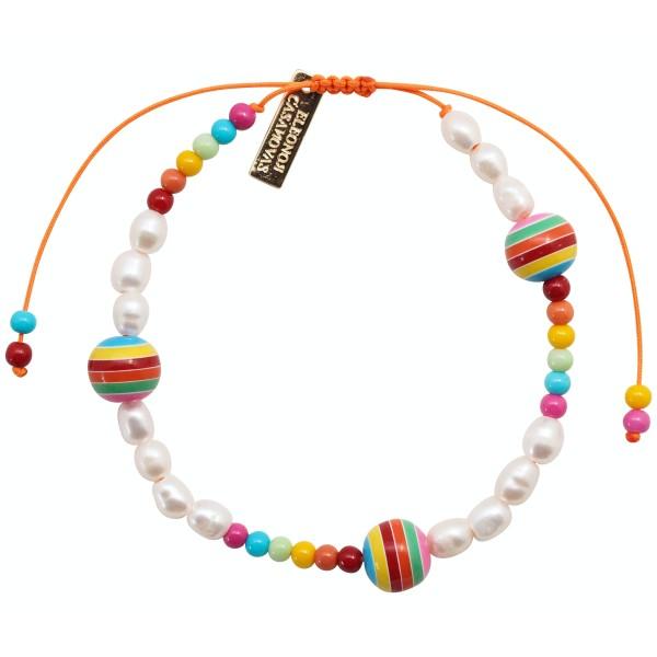 Pearls & Rainbow Balls Bracelet