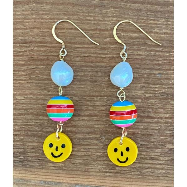 Rainbow Ball & Smiley earring